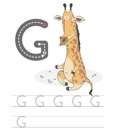 Learning to write a letter - G. A practical sheet from a set of exercises game for kids. Cartoon funny animal with letter. Spelling the alphabet. Child development and education. Girafe - Vector. Foto de archivo - 133277929