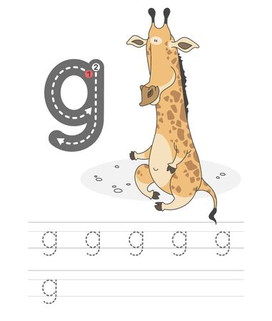 Learning to write a letter - g. A practical sheet from a set of exercises game for kids. Cartoon funny animal with letter. Spelling the alphabet. Child development and education. Giraffe - Vector. Illustration