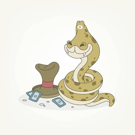 Cartoon character of a reptile. Funny cute snake magician curled up in a ball and posing next to paper money and a magic hat. Vector illustration