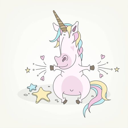 Cartoon character of a fairy creature. Funny cute unicorn sits and does magic. Vector illustration