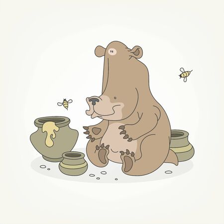 Cartoon character of a forest animal. Funny cute brown bear sits and poses with pots of honey and bees. Vector illustration Vectores