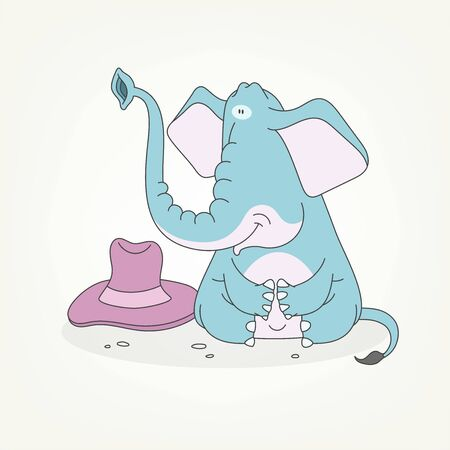 Cartoon character of a african animal. Funny cute elephant sits and poses next to a hat. Vector illustration Foto de archivo - 133277998