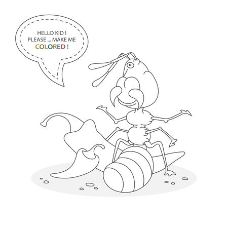 Black and white coloring book page. Cartoon character of a funny cute ant with peppers. Card from a set for the development of children. Vector illustration