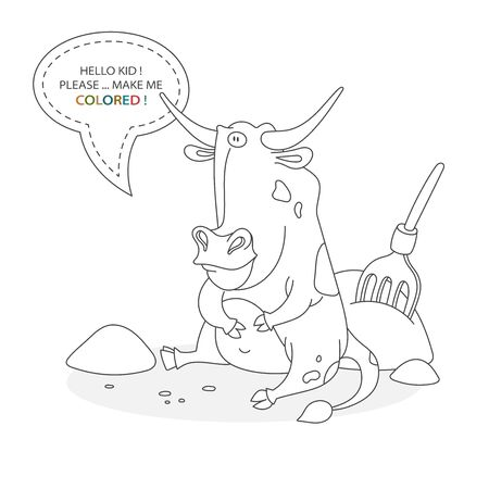 Black and white coloring book page. Cartoon character of a funny cute bull with hay and pitchfork. Card from a set for the development of children. Vector illustration