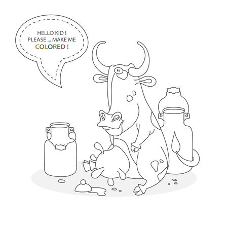 Black and white coloring book page. Cartoon character of a funny cute dairy cow and milk cans. Card from a set for the development of children. Vector illustration Иллюстрация