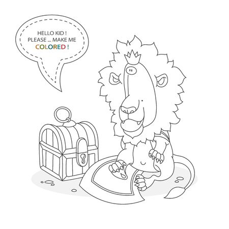 Black and white coloring book page. Cartoon character of a funny cute llion in crown and cape and treasure chest. Card from a set for the development of children. Vector illustration