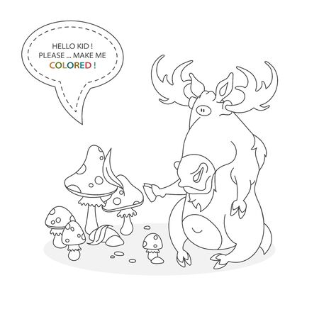 Black and white coloring book page. Cartoon character of a funny cute moose with big horns and fly agaric. Card from a set for the development of children. Vector illustration Иллюстрация