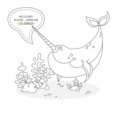 Black and white coloring book page. Cartoon character of a funny cute narwhal with underwater shells and plants. Card from a set for the development of children. Vector illustration