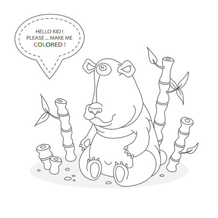 Black and white coloring book page. Cartoon character of a funny panda with bamboo. Card from a set for the development of children. Vector illustration