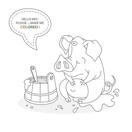 Black and white coloring book page. Cartoon character of a funny cute pig in the mud and a trough with porridge. Card from a set for the development of children. Vector illustration Ilustração