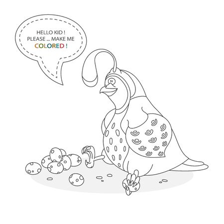 Black and white coloring book page. Cartoon character of a funny cute quail and eggs. Card from a set for the development of children. Vector illustration