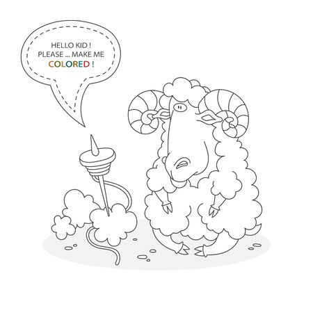 Black and white coloring book page. Cartoon character of a funny cute big horns ram and spinning wheel with wool. Card from a set for the development of children. Vector illustration Иллюстрация