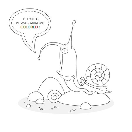 Black and white coloring book page. Cartoon character of a funny cute snail with shell and ctones Card from a set for the development of children. Vector illustration
