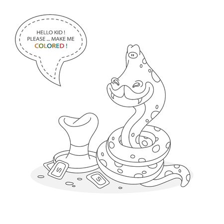 Black and white coloring book page. Cartoon character of a funny cute snake and magician hat with money . Card from a set for the development of children. Vector illustration