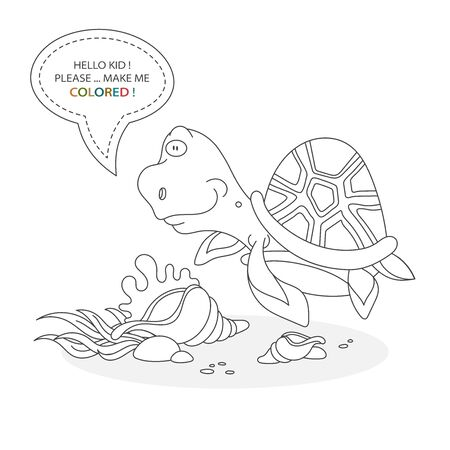 Black and white coloring book page. Cartoon character of a funny cute turtle and underwater shells with plants. Card from a set for the development of children. Vector illustration
