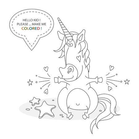 Black and white coloring book page. Cartoon character of a funny cute unicorn and magic. Card from a set for the development of children. Vector illustration Иллюстрация