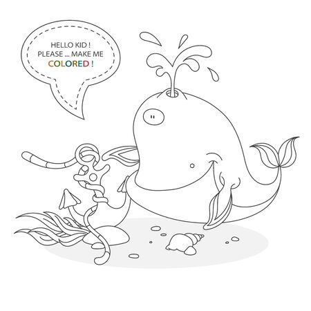 Black and white coloring book page. Cartoon character of a funny cute whale, sunken anchor and underwater plants with shells. Card from a set for the development of children. Vector illustration