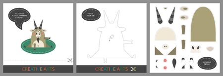 Fun Lessons for Kids - DIY! Set of cards for childrens creativity. Original funny goat, template for character applique and cutting set - Vector Illustration