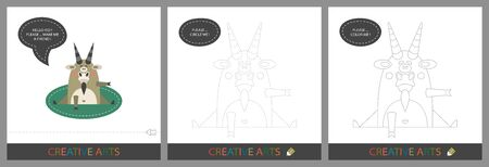 Fun Lessons for Kids - DIY! Set of cards for children's creativity. Original funny goat, character template for connecting by dots and silhouette for coloring - Vector