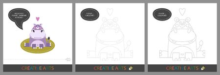 Fun Lessons for Kids - DIY! Set of cards for childrens creativity. Original funny hippo, character template for connecting by dots and silhouette for coloring - Vector