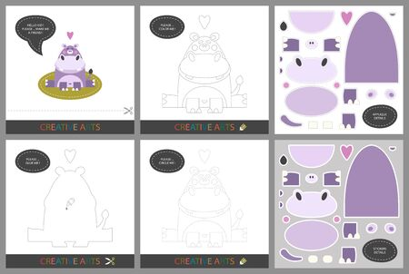 Fun Lessons - DIY! Set of cards for childrens creativity. Original funny hippo, coloring book, character connection by dots, template for applique, package of stickers and set for cutting - Vector