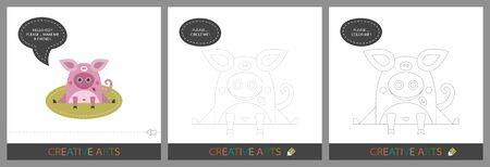 Fun Lessons for Kids - DIY! Set of cards for childrens creativity. Original funny pig, character template for connecting by dots and silhouette for coloring - Vector Illustration