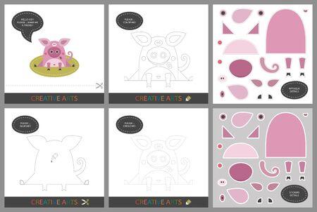 Leuke lessen - DIY! Set kaarten voor de creativiteit van kinderen. Origineel grappig varken, kleurboek, karakterverbinding door stippen, sjabloon voor applique, pakket stickers en set om te snijden - Vector