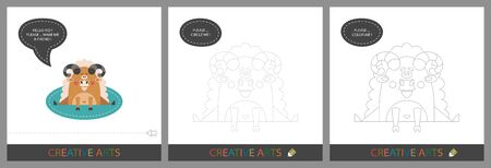 Fun Lessons for Kids - DIY! Set of cards for children's creativity. Original funny ram, character template for connecting by dots and silhouette for coloring - Vector Vectores