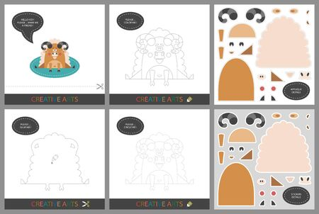 Fun Lessons - DIY! Set of cards for childrens creativity. Original funny ram, coloring book, character connection by dots, template for applique, package of stickers and set for cutting - Vector