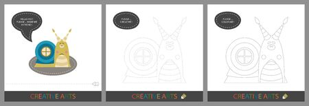 Fun Lessons for Kids - DIY! Set of cards for children's creativity. Original funny snail, character template for connecting by dots and silhouette for coloring - Vector