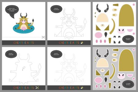 Fun Lessons - DIY! Set of cards for childrens creativity. Original funny cow, coloring book, character connection by dots, template for applique, package of stickers and set for cutting - Vector