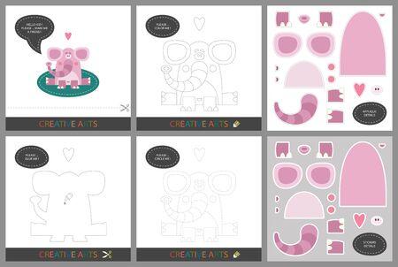 Leuke lessen - DIY! Set kaarten voor de creativiteit van kinderen. Originele grappige hond, kleurboek, karakterverbinding door stippen, sjabloon voor applique, pakket stickers en set om te snijden - Vector