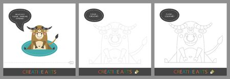 Fun Lessons for Kids - DIY! Set of cards for childrens creativity. Original funny bull, character template for connecting by dots and silhouette for coloring - Vector