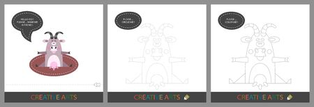 Fun Lessons for Kids - DIY. Set of cards for childrens creativity. Original funny goat, character template for connecting by dots and silhouette for coloring - Vector