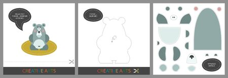 Fun Lessons for Kids - DIY. Set of cards for child creativity. Original funny bear , template for character applique and cutting set - Vector  イラスト・ベクター素材
