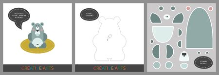 Fun Lessons for Kids - DIY. Set of cards for child creativity. Original funny bear, template for character applique and set of stickers for sticking on a template - Vector