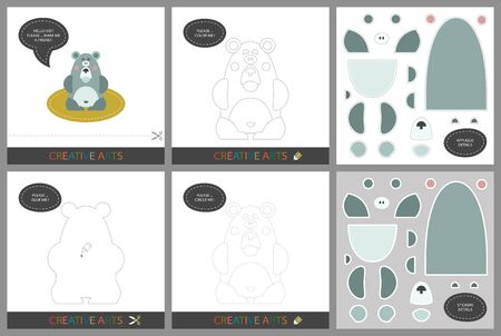 Fun Lessons - DIY! Set of cards for child creativity. Original funny bear, coloring book, character connection by dots, template for applique, package of stickers and set for cutting - Vector Ilustração