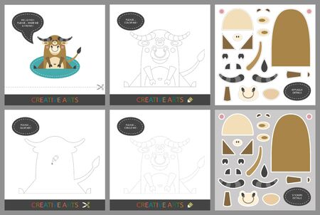 Fun Lessons - DIY! Set of cards for childrens creativity. Original funny bull, coloring book, character connection by dots, template for applique, package of stickers and set for cutting - Vector