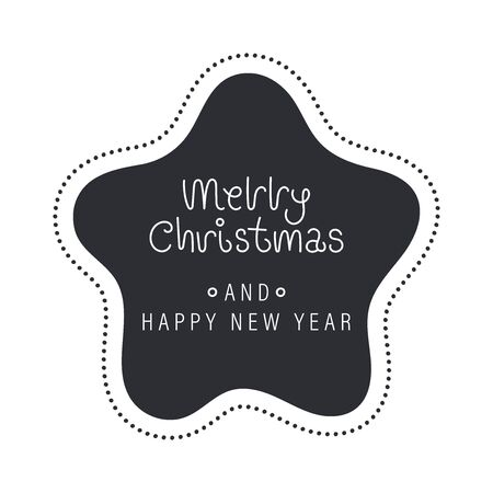Merry christmas and happy new year greeting card. The inscription in a white star with beads. Vector illustration.  イラスト・ベクター素材