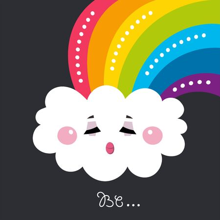 Kids illustration for design prints, cards and birthday invitations. Cartoon cute rosy white cloud with a rainbow. Vector illustration.