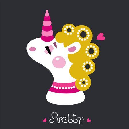 Kids illustration for design prints, cards and birthday invitations. Cartoon cute rosy unicorn. Dream - Vector illustration.