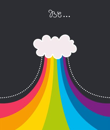 Kids illustration for design prints, cards and birthday invitations. Cartoon white cloud with a rainbow. Vector illustration.
