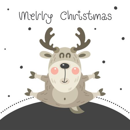 Merry christmas and happy new year greeting card. Cartoon christmas character. Cute funny rosy deer bounced on a night background with falling snow. Vector illustration. Illustration