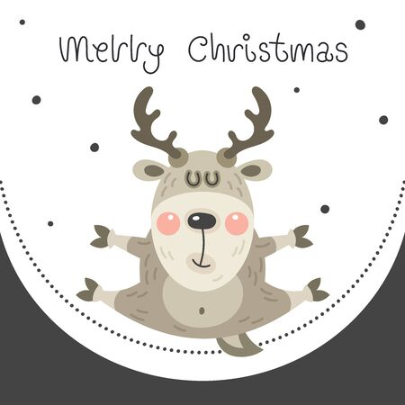 Merry christmas and happy new year greeting card. Cartoon christmas character. A cute fun rosy deer bounced in the snow. Vector illustration.