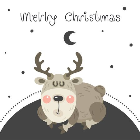 Merry christmas and happy new year greeting card. Cartoon christmas character. Cute funny rosy deer is sleeping sweetly on the moon. Vector illustration. Ilustrace