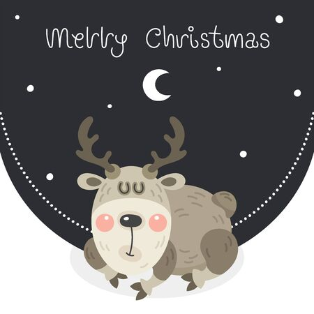 Merry christmas and happy new year greeting card. Cartoon christmas character. Cute rosy deer sleeps in the snow under the moon. Vector illustration.