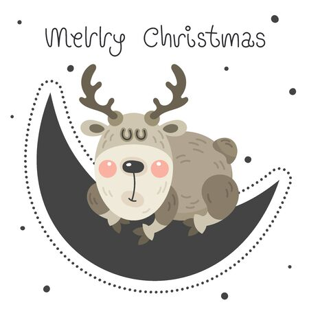 Merry christmas and happy new year greeting card. Cartoon christmas character. Cute funny rosy deer is sleeping sweetly on the moon. Vector illustration. Ilustração