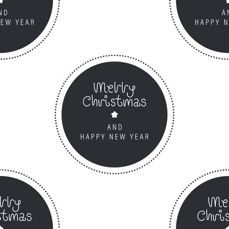 Festive background for new year or christmas. Seamless texture of the circle and inscription. For wallpaper, pattern fills, web page, surface textures, textile print, wrapping paper - Vector