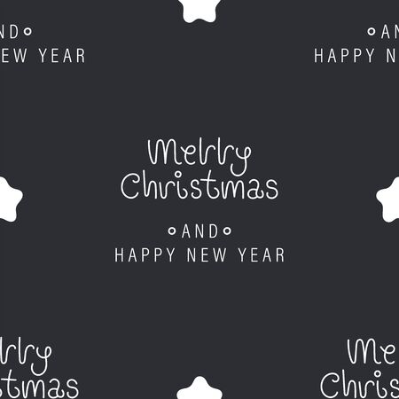 Festive background for new year or christmas. Seamless texture of the stars and inscription. For wallpaper, pattern fills, web page, surface textures, textile print, wrapping paper - Vector  イラスト・ベクター素材