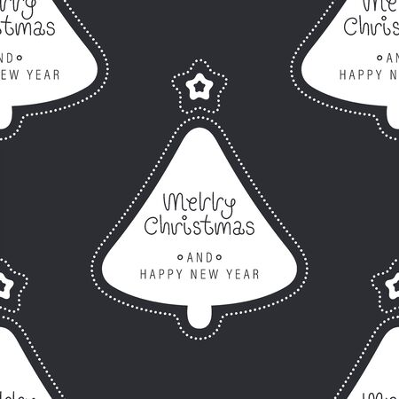 Festive background for new year or christmas. Seamless texture of the christmas tree and inscription. For wallpaper, pattern fills, web page, surface textures, textile print, wrapping paper - Vector